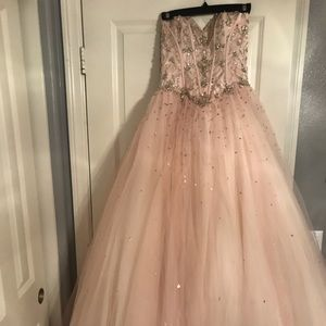 Blush Pink Sequin Mori Lee Ball Gown